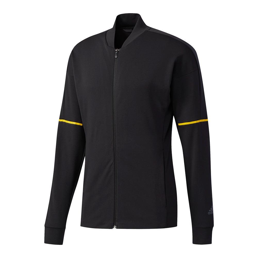 Men's Club Knit Tennis Jacket Black And Eqt Yellow