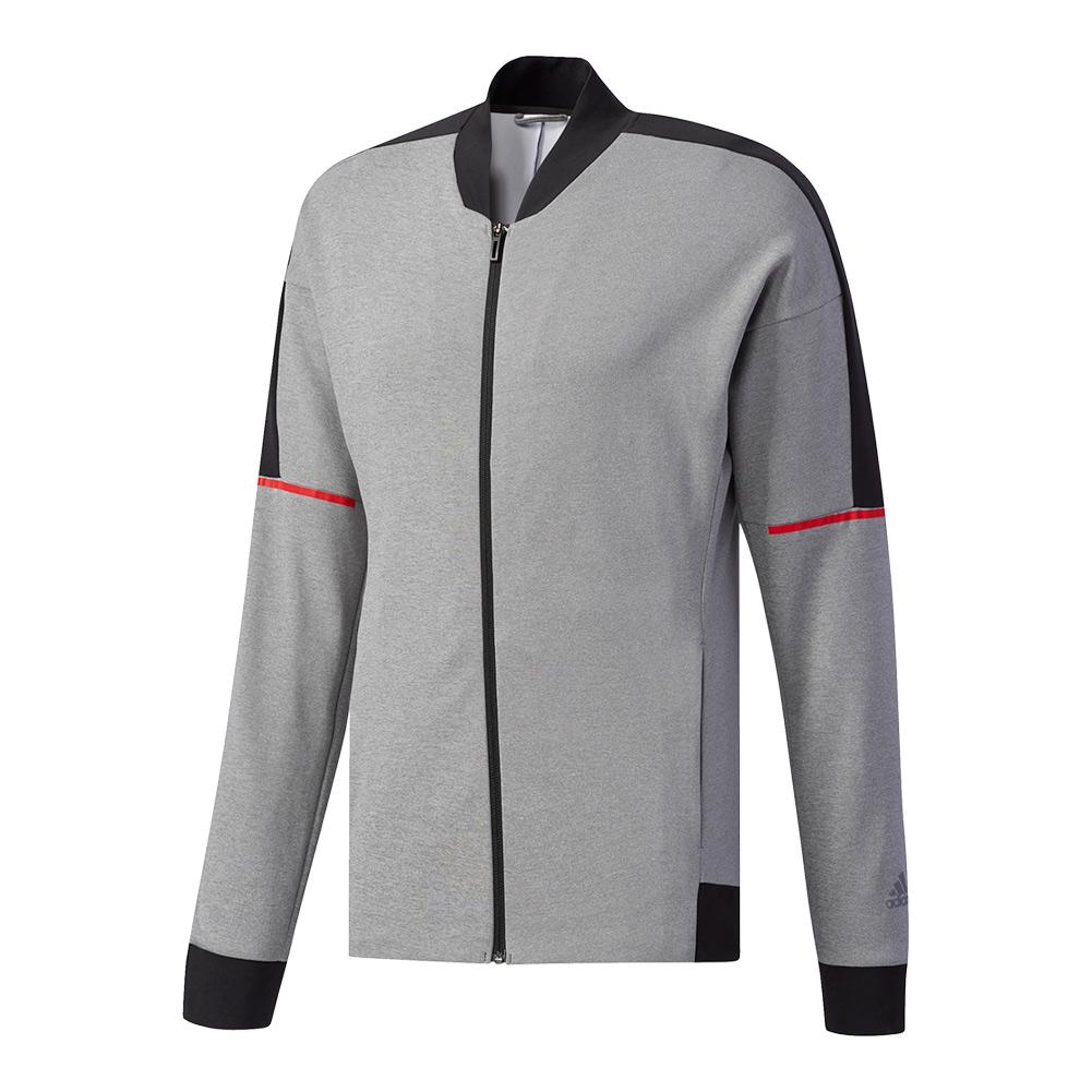 Men's Club Knit Tennis Jacket Core Heather And Black