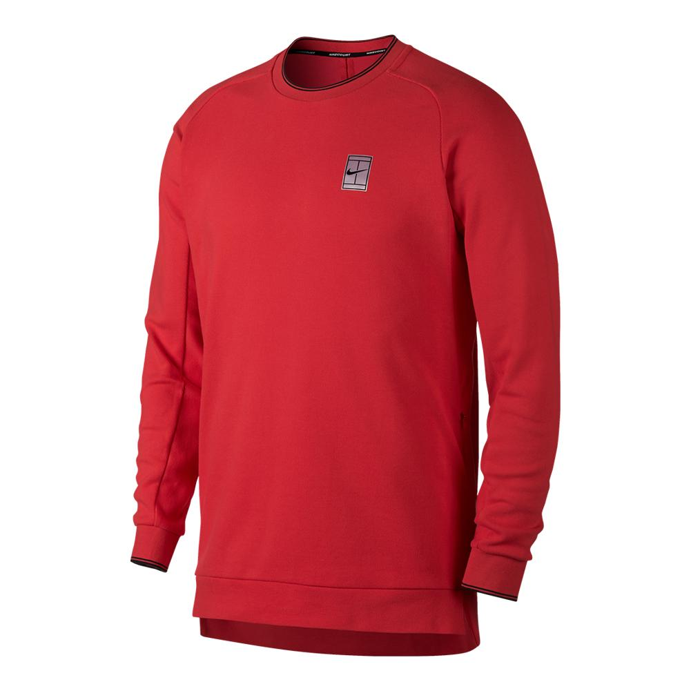 Men's Court Long Sleeve Tennis Top Action Red And White