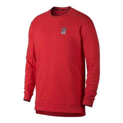 Men`s Court Long Sleeve Tennis Top Action Red and White
