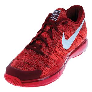Men`s Zoom Vapor Flyknit Tennis Shoes Team Red and Metallic Silver