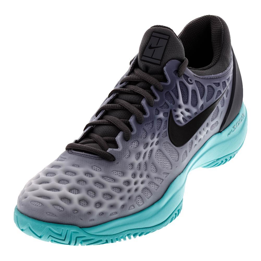 Men's Zoom Cage 3 Hc Tennis Shoes Dark Gray And Aurora Green
