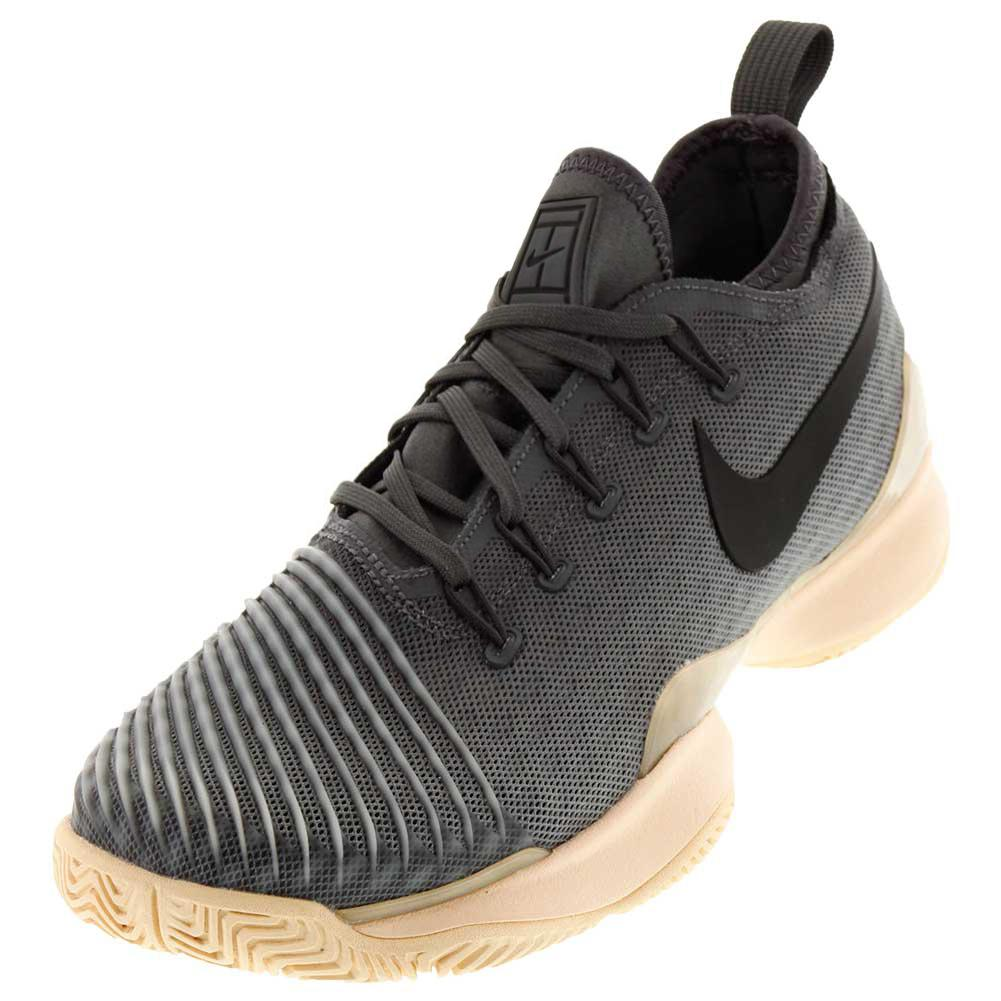 Women's Air Zoom React Tennis Shoes Dark Gray And Orange Quartz