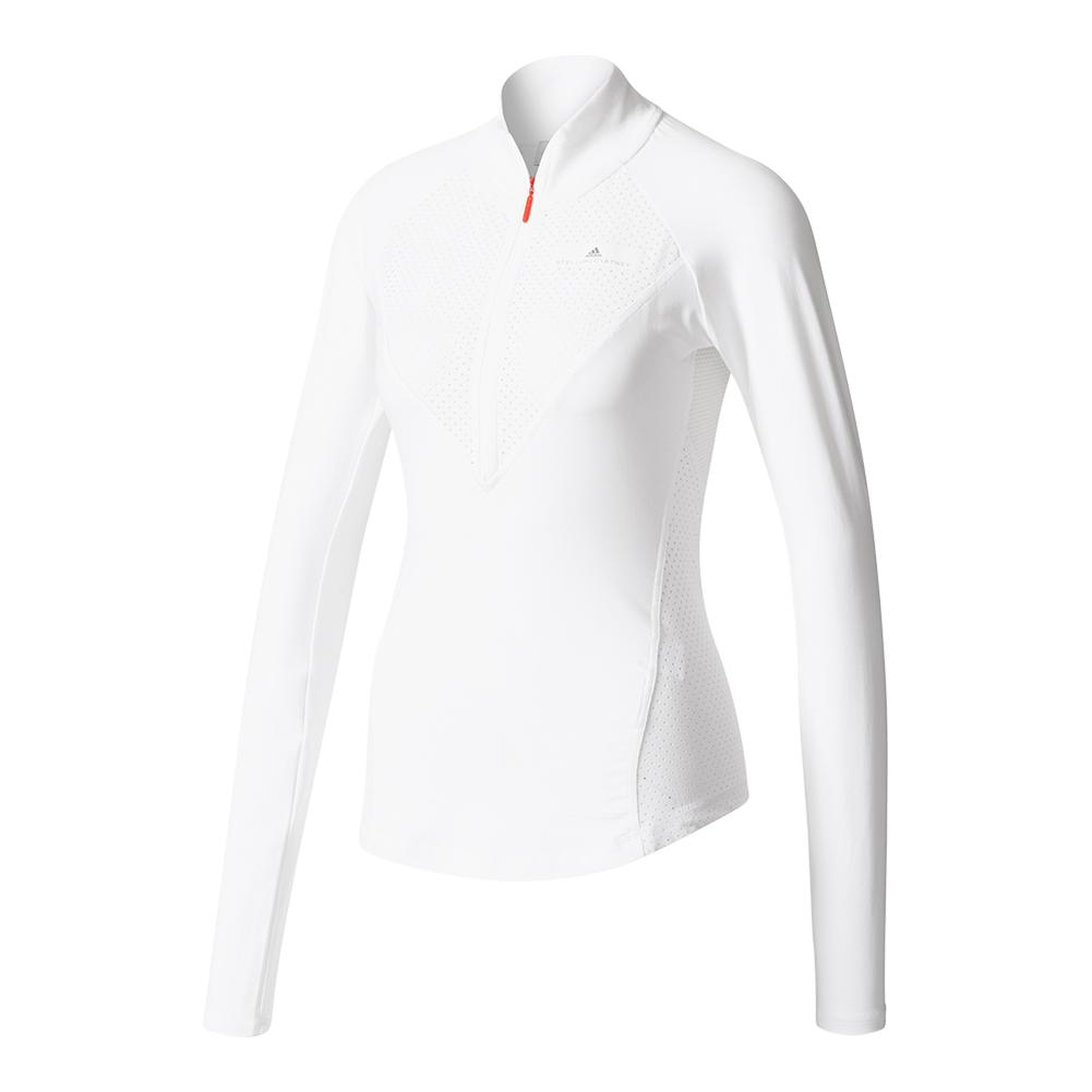 Women's Stella Mc Barricade Long Sleeve Half Zip Ny Tennis Top White And Gray