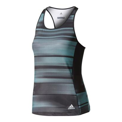 Women`s Advantage Trend Tennis Tank Black and Energy Aqua