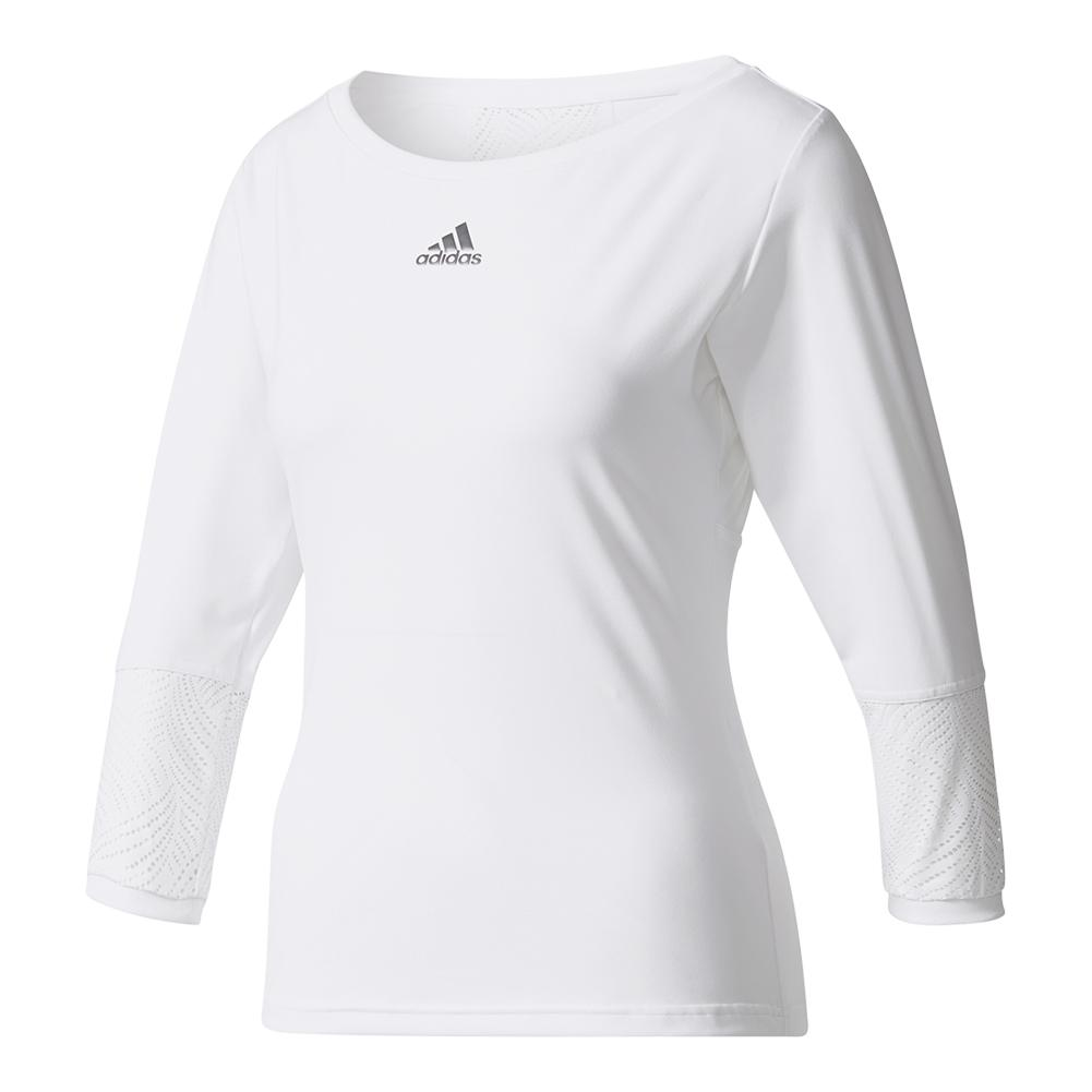 Women's London Line Three Quarter Sleeve Tennis Tee White