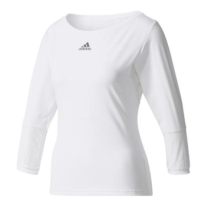 Women`s London Line Three Quarter Sleeve Tennis Tee White