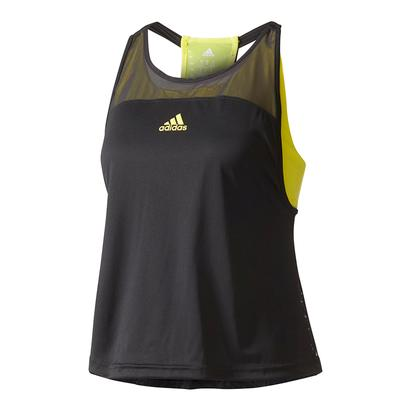 Women`s US Series Tennis Tank Black and Bright Yellow