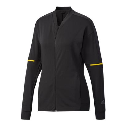 Women`s Club Knit Tennis Jacket Black and Bright Yellow
