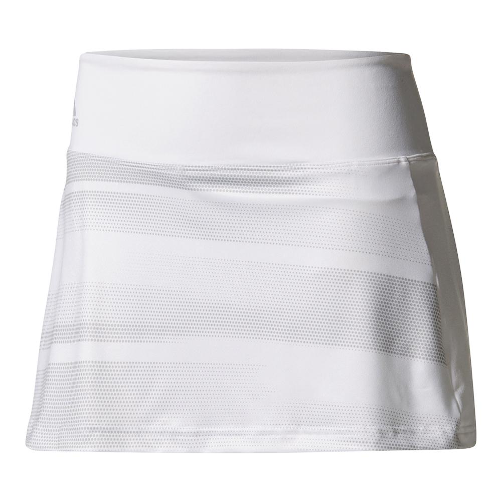 4e36190d5d Adidas Women's Advantage Trend 11 Inch Tennis Skirt in White and Gray