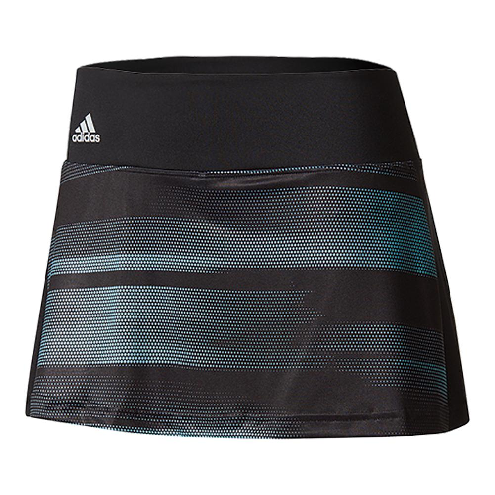 Women's Advantage Trend 11 Inch Tennis Skirt Black And Energy Aqua