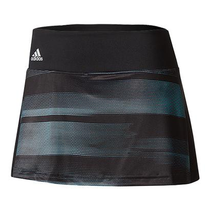 Women`s Advantage Trend 11 Inch Tennis Skirt Black and Energy Aqua