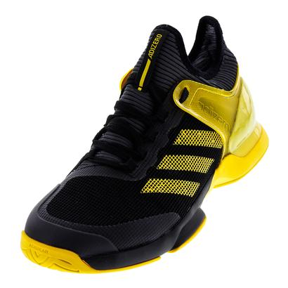 Men`s Adizero Ubersonic 2 Tennis Shoes Core Black and Eqt Yellow