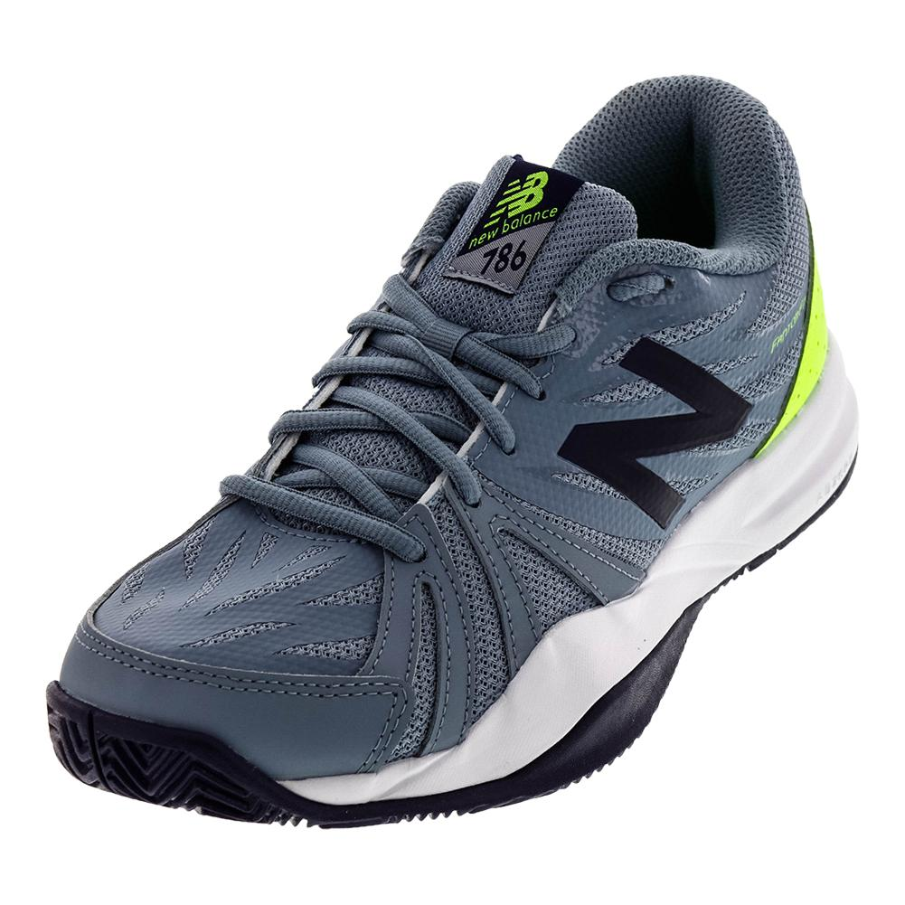Men's 786v2 D Width Tennis Shoes Gray And Energy Lime