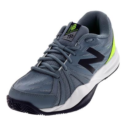 Men`s 786v2 D Width Tennis Shoes Gray and Energy Lime