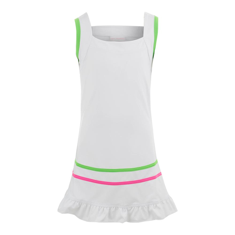 Girls ` Tennis Dress White With Color Trim
