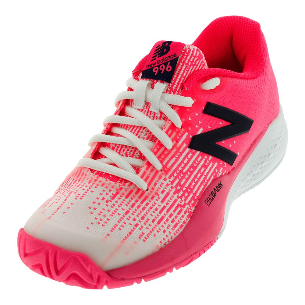Women's 996v3 D Width Tennis Shoes Alpha Pink And White