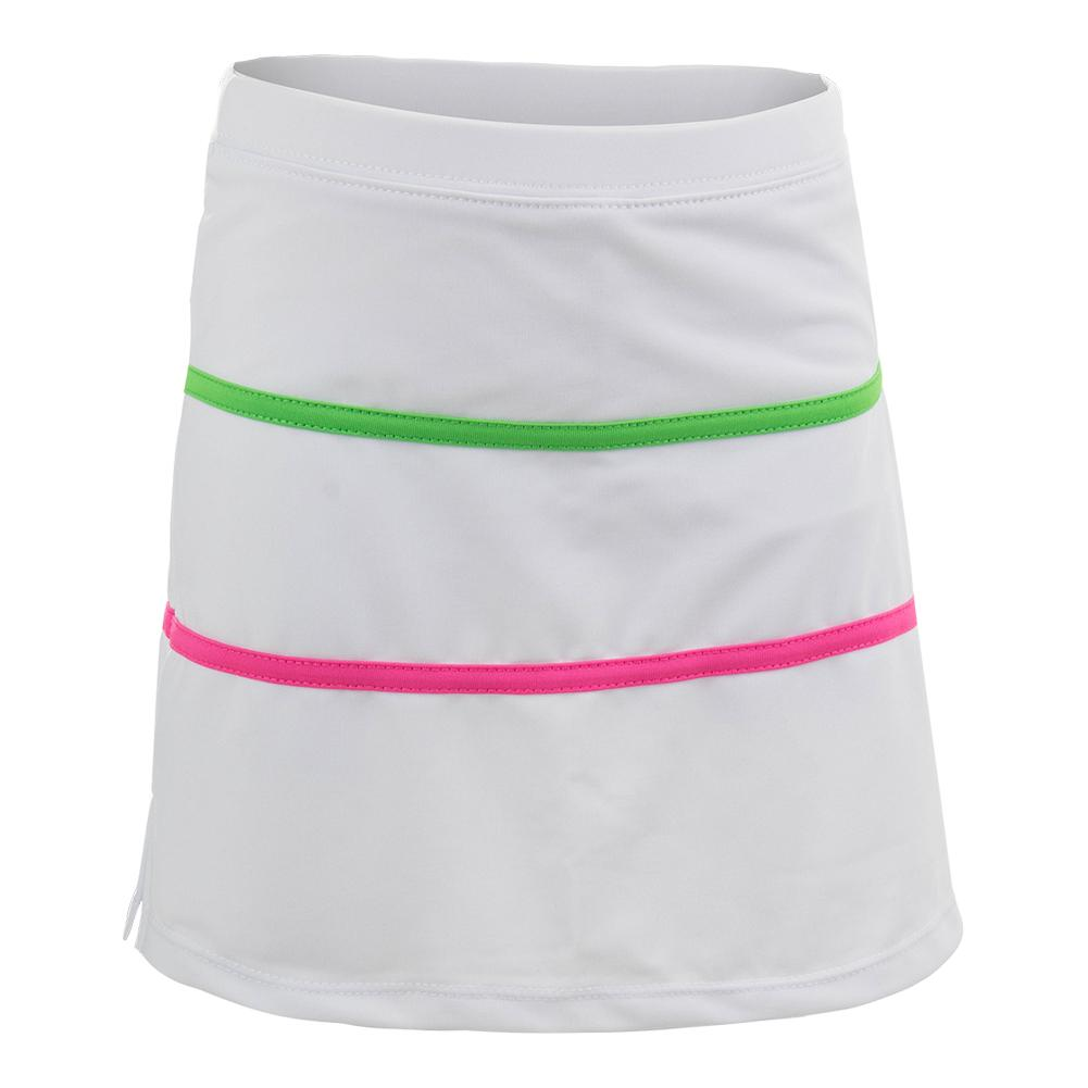 Girls ` Tennis Skort White With Color Trim
