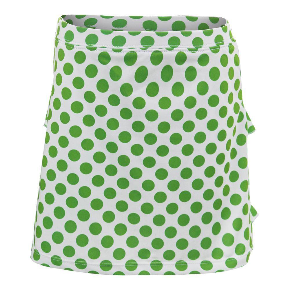 Girls ` Green Dot Tennis Skort White