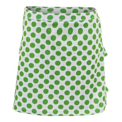 Girls` Green Dot Tennis Skort White