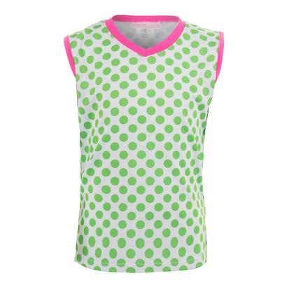Girls` Green Dot Tennis Tank White
