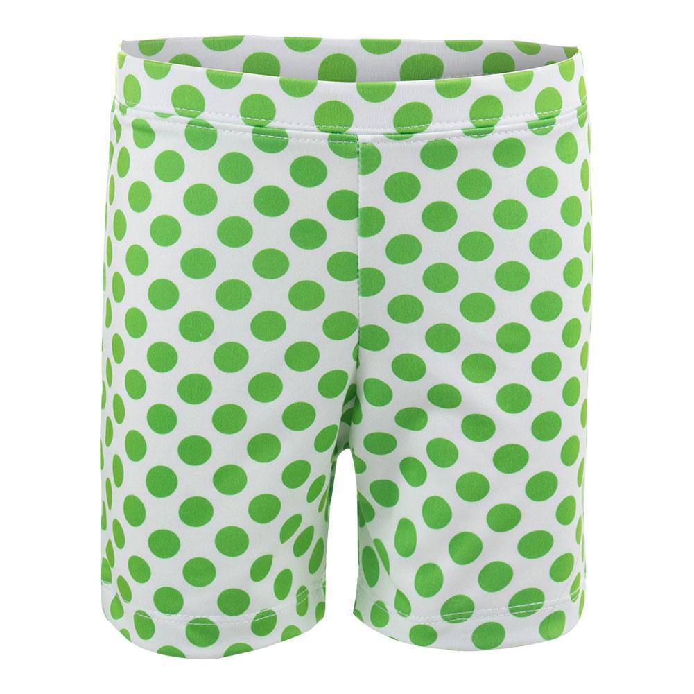 Girls ` Biker Short White With Green Dots