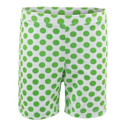 Girls` Biker Short White with Green Dots