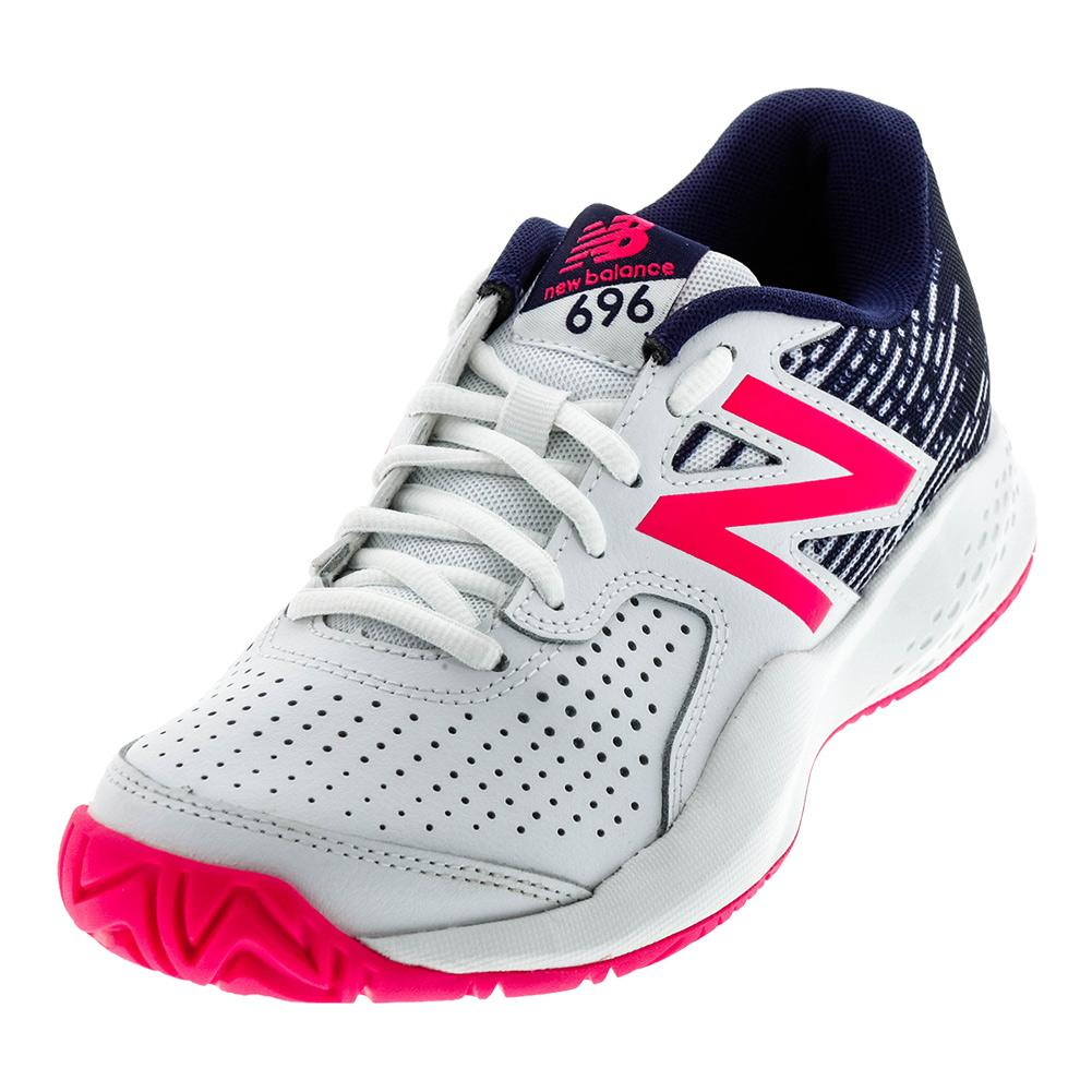 Women's 696v3 B Width Tennis Shoes White And Alpha Pink