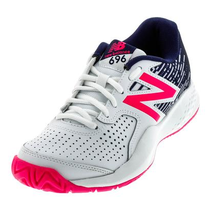 Women`s 696v3 B Width Tennis Shoes White and Alpha Pink