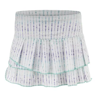 Women`s Desert Ditsy Pleat Tier Tennis Skort White and Lagoon