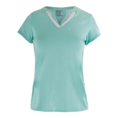 Women`s Short Sleeve Double V Tennis Top Lagoon