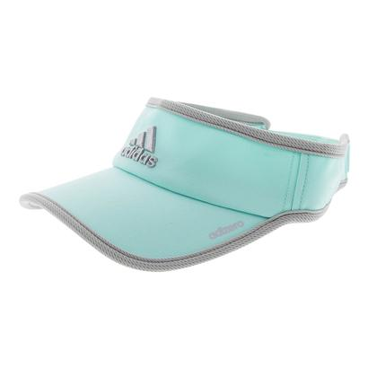 Women`s Adizero II Tennis Visor Energy Aqua and Clear Onix