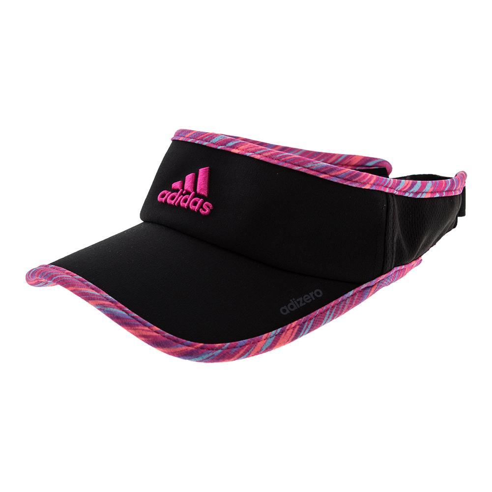 Women's Adizero Ii Tennis Visor Black And Shock Pink Twister