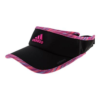 Women`s Adizero II Tennis Visor Black and Shock Pink Twister