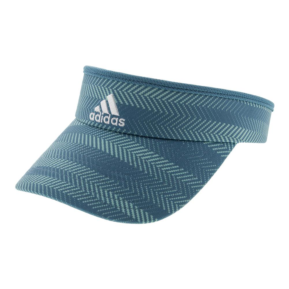 Women's Match Tennis Visor Tactile Steel Blue Ratio Print