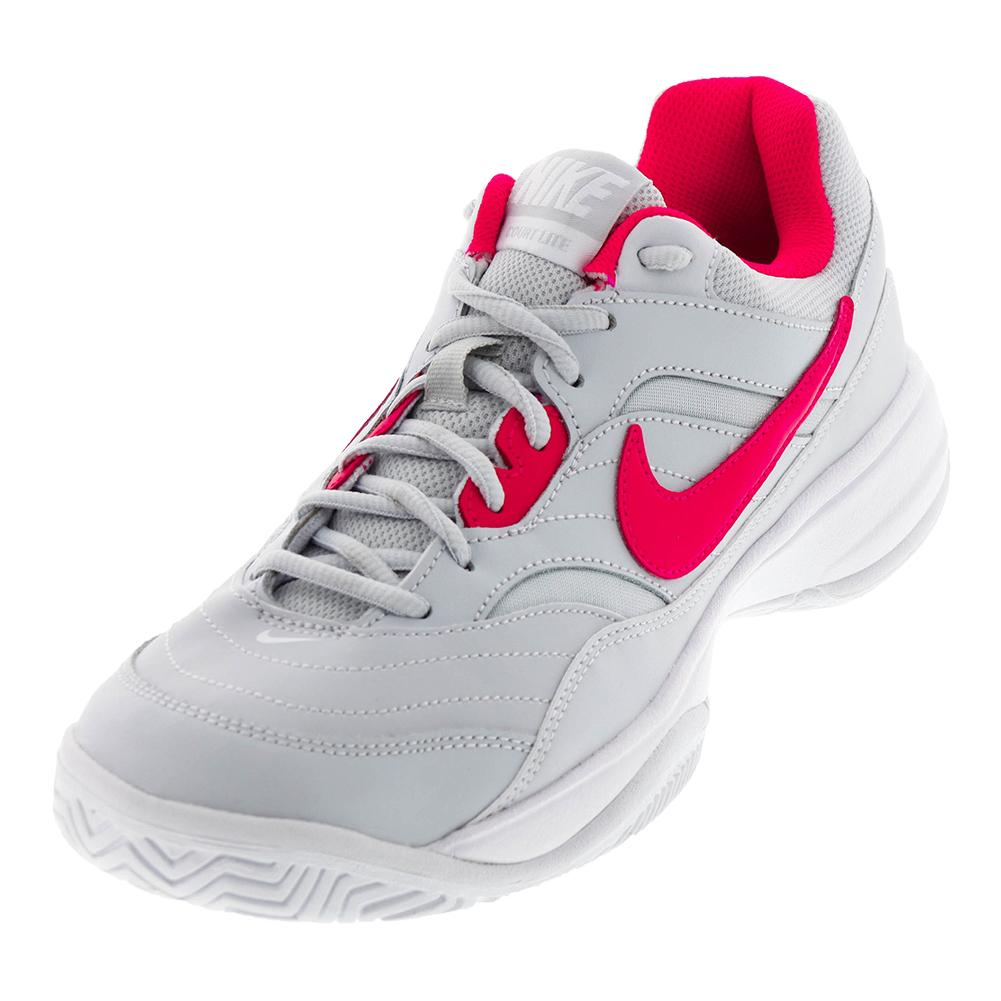 Women's Court Lite Tennis Shoes Pure Platinum And Siren Red