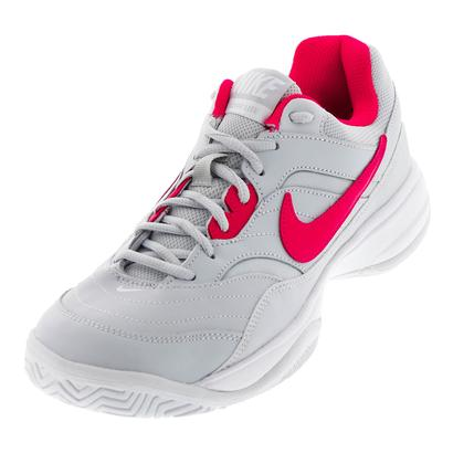 Women`s Court Lite Tennis Shoes Pure Platinum and Siren Red