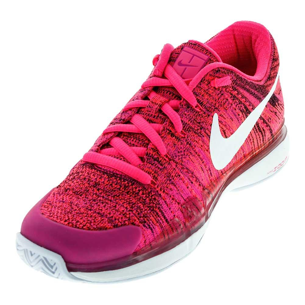 Women's Air Zoom Vapor Flyknit Tennis Shoes Pink Blast And White
