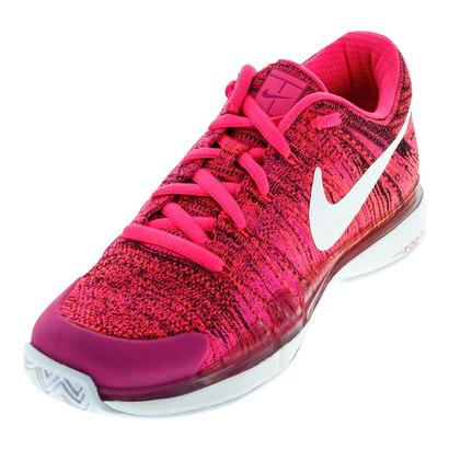Women`s Air Zoom Vapor Flyknit Tennis Shoes Pink Blast and White
