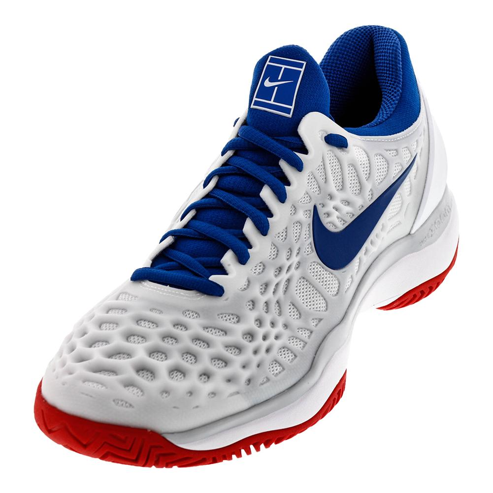 Juniors ` Zoom Cage 3 Hc Tennis Shoes White And Blue Jay