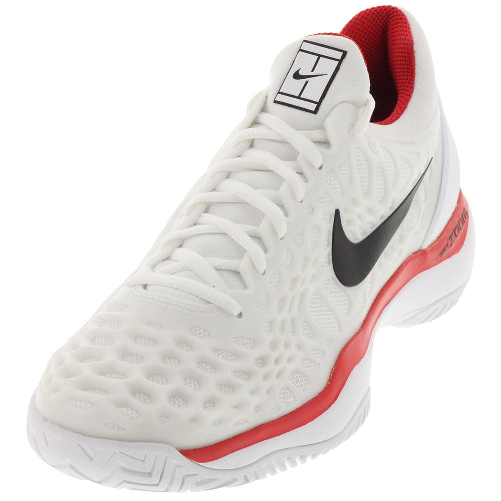Men's Zoom Cage 3 Hc Tennis Shoes White And University Red