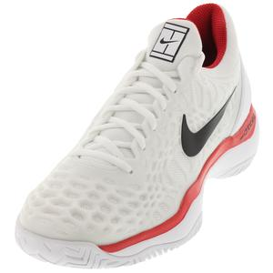 Men`s Zoom Cage 3 HC Tennis Shoes White and University Red
