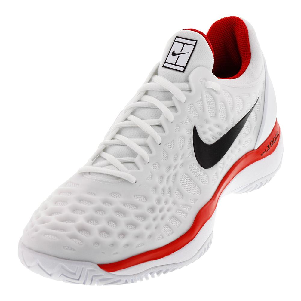 Juniors ` Zoom Cage 3 Hc Tennis Shoes White And University Red
