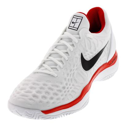 Juniors` Zoom Cage 3 HC Tennis Shoes White and University Red