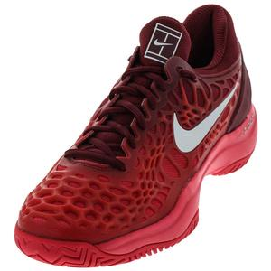 Men`s Zoom Cage 3 HC Tennis Shoes Team Red and Metallic Silver