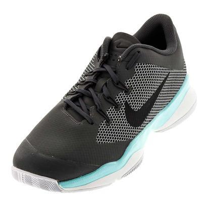 Juniors` Air Zoom Ultra Tennis Shoes Dark Gray and Aurora Green