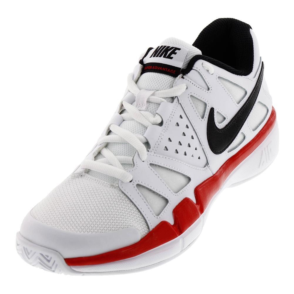 Juniors ` Air Vapor Advantage Tennis Shoes White And Univsersity Red