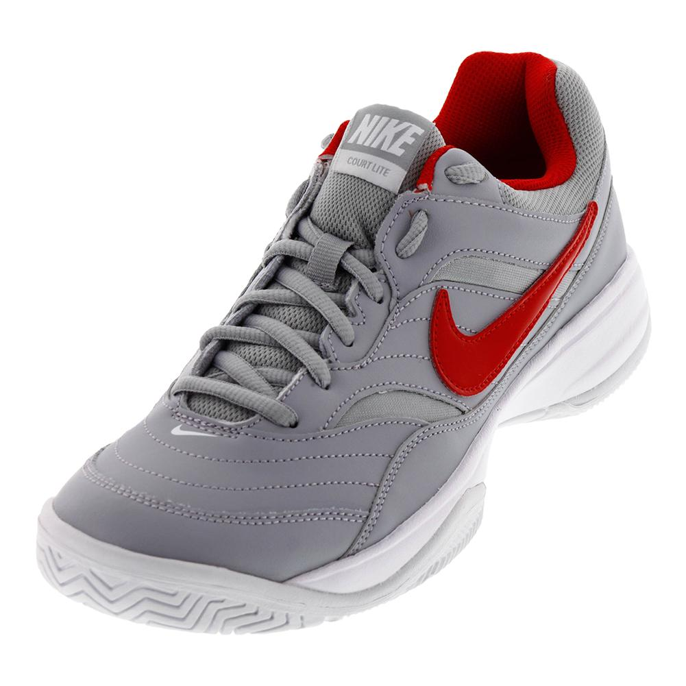 Men's Court Lite Tennis Shoes Wolf Gray And University Red