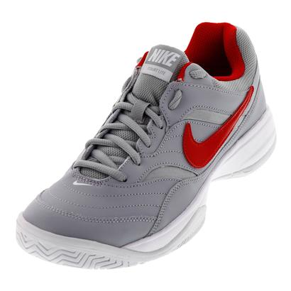 Men`s Court Lite Tennis Shoes Wolf Gray and University Red