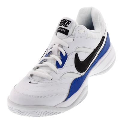 Men`s Court Lite Tennis Shoes White and Blue Jay